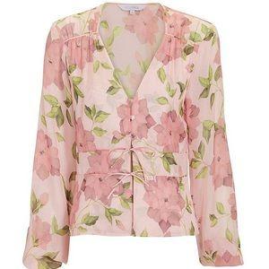 New Intermix Pink Chandler Printed Floral Silk Top